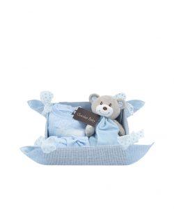 cesta bebe azul con pelele de lana y dudu