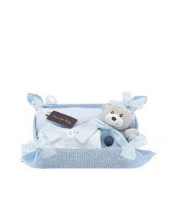 canastilla azul con pijama,manta y sonajero