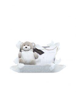 canastilla para bebe blanca con osito y faldon