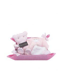 cesta para bebe rosa con cojin ,chaqueta de lana,cubrepañal y zapatos