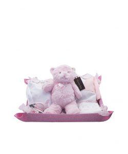 cesta rosa con osito, pijama, cubrepañal, zapatos faldon y chaqueta